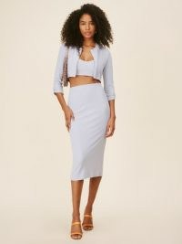 REFORMATION Janice Set Sky Blue ~ three piece knit fabric clothing sets ~ cropped cardigan co ord