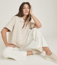 REISS JETA BOXY ZIP NECK POLO SHIRT BLUSH / sports luxe fashion