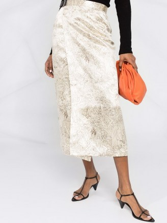 Jil Sander floral-print wrap skirt ~ luxe midi skirts - flipped