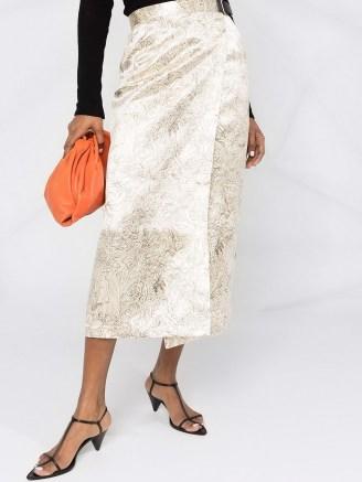 Jil Sander floral-print wrap skirt ~ luxe midi skirts