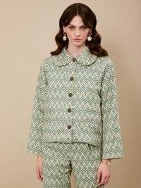 sister jane Wonderland Tapestry Jacket – green oversized collar jackets