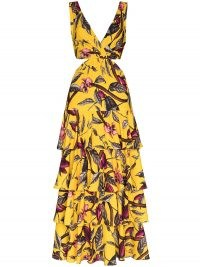 Johanna Ortiz Nature's Eloquence tiered maxi dress ~ yellow cut out dresses ~ tie back