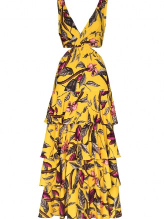 Johanna Ortiz Nature's Eloquence tiered maxi dress ~ yellow cut out dresses ~ tie back - flipped