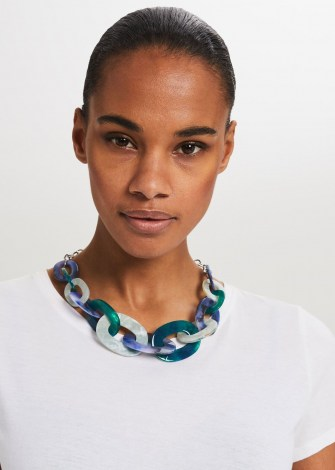 HOBBS JOY RESIN NECKLACE ~ chunky blue statement necklaces - flipped