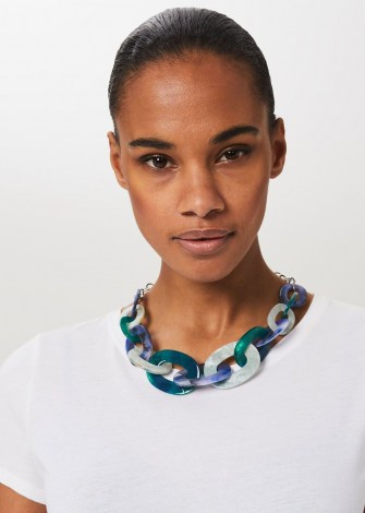 HOBBS JOY RESIN NECKLACE ~ chunky blue statement necklaces
