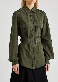 JW ANDERSON Dark green belted cotton shirt ~ utility style shirts