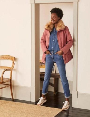 Boden Kentwell Parka Dusty Rose | pink faux fur collar coats | feminine parkas - flipped