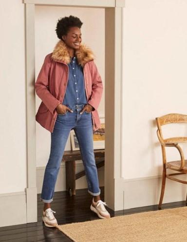 Boden Kentwell Parka Dusty Rose | pink faux fur collar coats | feminine parkas