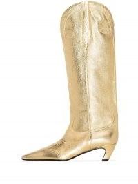 Khaite Dallas 50mm Western boots ~ metallic gold leather low heel boot
