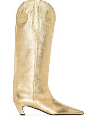 Khaite Dallas 50mm Western boots ~ metallic gold leather low heel boot - flipped