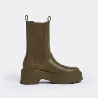 RIVER ISLAND Khaki faux leather patent chunky boots ~ green thick sole pull tab boot