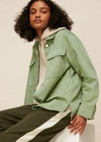 WHISTLES MASIE OVERSHIRT / green organic cotton overshirts