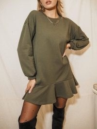 Style Cheat ISLA KHAKI LONG SLEEVE SWEATSHIRT PEPLUM MINI DRESS | green pephem sweat dresses