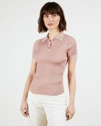 TED BAKER JAYYDAH Knitted Polo Top in Dusky Pink ~ classic rib knit tops with open collar