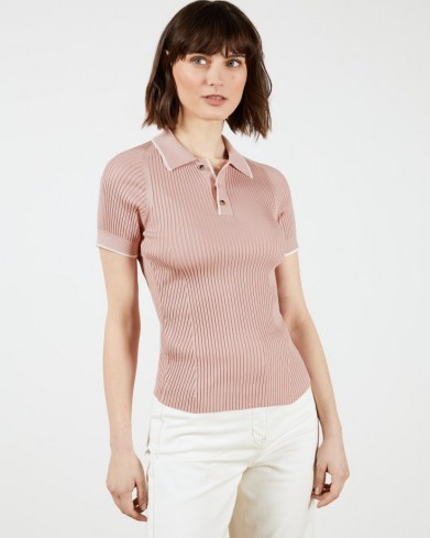 TED BAKER JAYYDAH Knitted Polo Top in Dusky Pink ~ classic rib knit tops with open collar - flipped