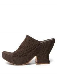BOTTEGA VENETA Knitted-mesh platform mules ~ chunky chocolate-brown platforms