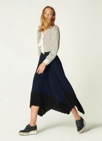 L.K. BENNETT KOLLER NAVY PLEATED SKIRT / dark blue handkerchief hem skirts