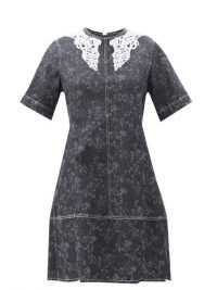 CHLOÉ Lace-collar floral-print denim mini dress ~ short sleeve A-line dresses