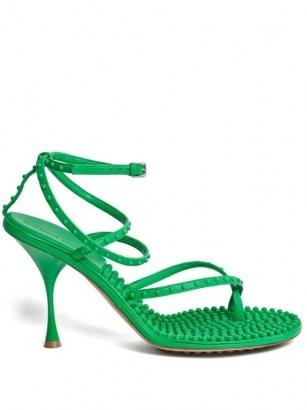 BOTTEGA VENETA Lagoon bubble-insole green-leather sandals - flipped