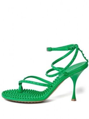 BOTTEGA VENETA Lagoon bubble-insole green-leather sandals
