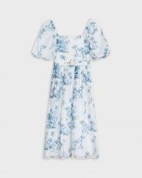 Ted Baker CRESSI Laurel Square Neck Midi Dress | square neck flared skirt dresses | puff sleeves