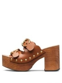 CHLOÉ Lauren buckled-strap leather clogs ~ 70s chunky sandals ~ vintage look footwear ~ retro platforms