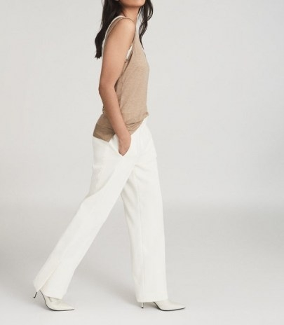 REISS LEAH WIDE LEG TAILORED TROUSERS WHITE ~ chic pants - flipped