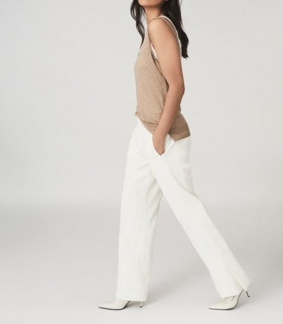 REISS LEAH WIDE LEG TAILORED TROUSERS WHITE ~ chic pants