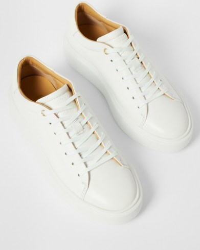 Ted Baker YINKA Leather platform trainer | white thick sole trainers - flipped