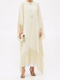 TALLER MARMO Lee fringed crepe cape in Ivory / long capes