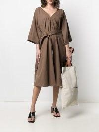 Lemaire belted V-neck dress in hazelnut brown