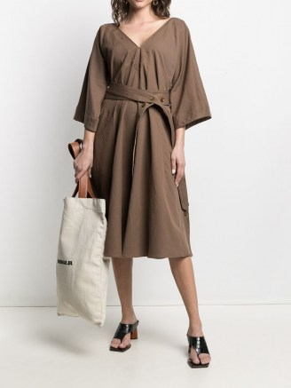 Lemaire belted V-neck dress in hazelnut brown - flipped