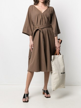Lemaire belted V-neck dress in hazelnut brown