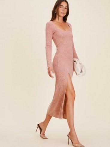 REFORMATION Lemon Dress ~ chic knitted front split dresses - flipped