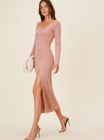 REFORMATION Lemon Dress ~ chic knitted front split dresses