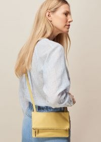 WHISTLES ISSY MINI FOLDOVER BAG LEMON / yellow leather crossbody bags