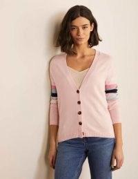 BODEN Lennox Relaxed Cardigan in Milkshake / light pink V-neck cardigans