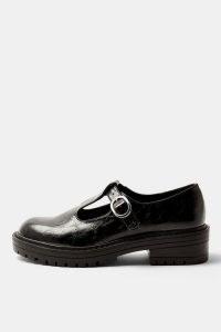 TOPSHOP LEONARD Black Chunky T Bar Shoes / thick sole t-bars