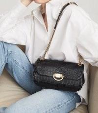 REISS LEXI MEDIUM LEATHER CROC EMBOSSED SHOULDER BAG BLACK ~ chic crocodile effect handbags