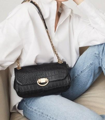 REISS LEXI MEDIUM LEATHER CROC EMBOSSED SHOULDER BAG BLACK ~ chic crocodile effect handbags - flipped