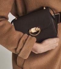 REISS LEXI MICRO MINI LEATHER CROSS BODY BAG BROWN ~ small luxe bags