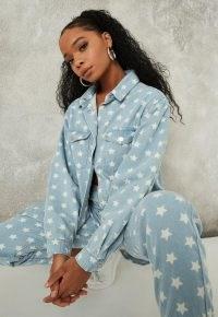 MISSGUIDED light blue co ord star oversized denim shirt – printed shirts – stars