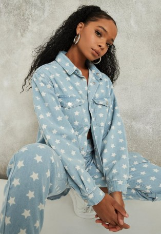 MISSGUIDED light blue co ord star oversized denim shirt – printed shirts – stars - flipped