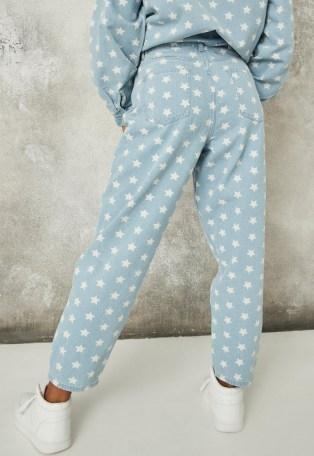 MISSGUIDED light blue co ord star tapered leg jeans – printed denim – stars - flipped