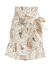 SABEL MARANT ÉTOILE Liliko fluted-hem paisley-print cotton skirt | ruffle trim skirts