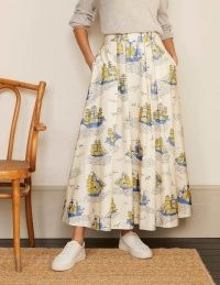BODEN Livia Full Skirt in Ivory Nautical Voyage / ship print flared maxi skirts