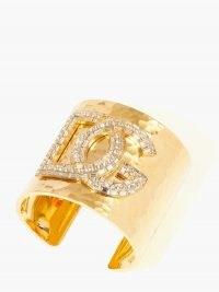 DOLCE & GABBANA Logo crystal-embellished hammered cuff – luxe designer statement cuffs – wide gold-tone bracelets