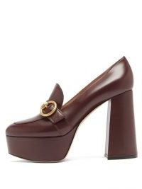 GIANVITO ROSSI Louise 70 leather platform loafers / brown 70s style platforms / vintage look shoes