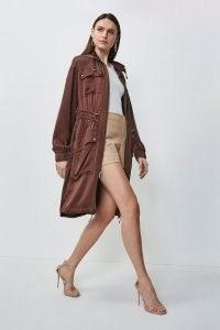 Karen Millen Luxe Crepe Satin Trench Coat in Chocolate | stylish brown coats