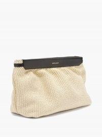 ISABEL MARANT Luz leather-trim raffia pouch | beige woven clutch